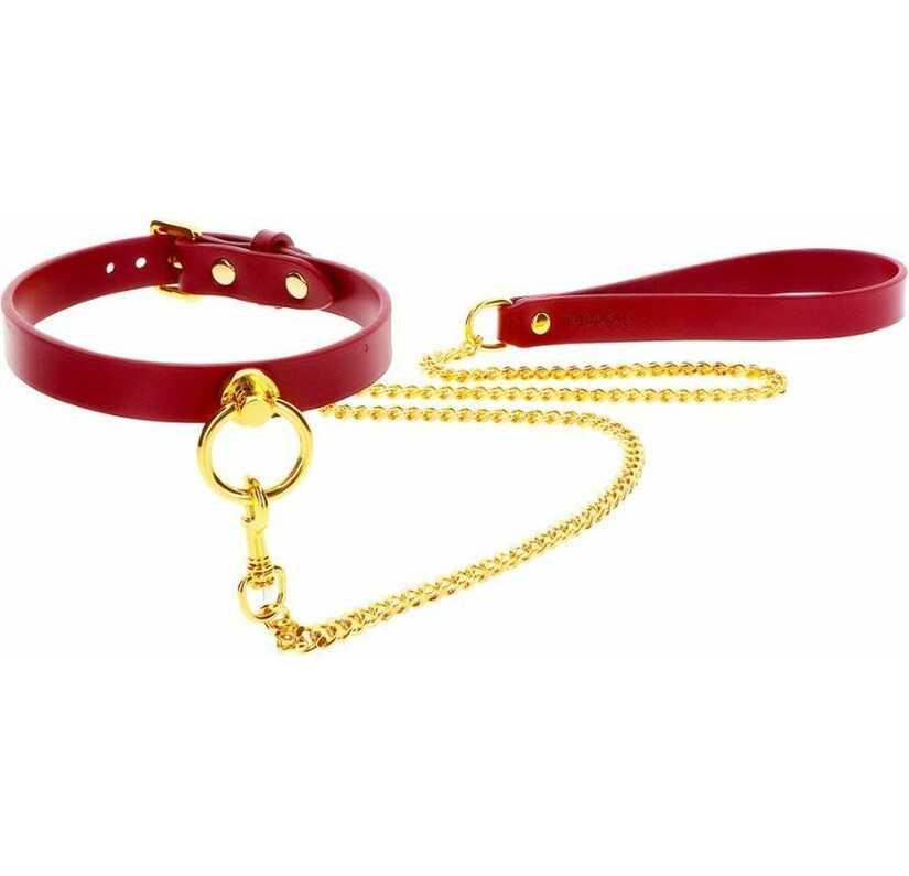 Bordeaux O-ring halsband & leiband set