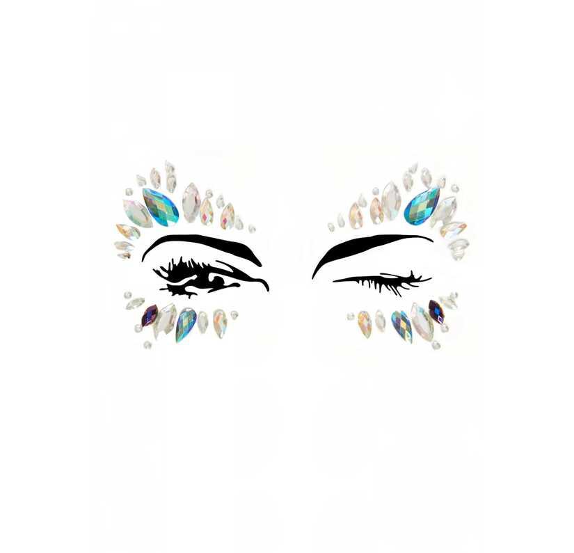 Face jewels met zilver en blauw