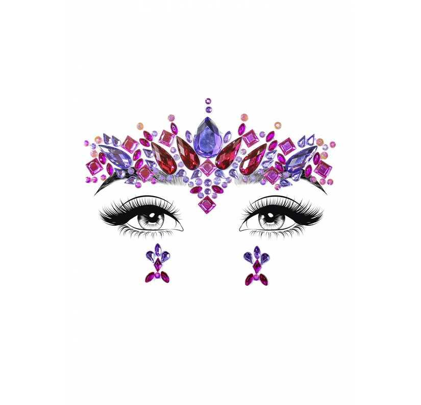 Face jewels met fuchsia en paars