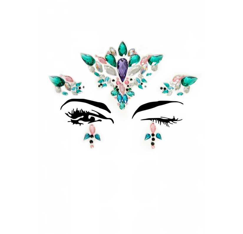 Face jewels met groen en paars