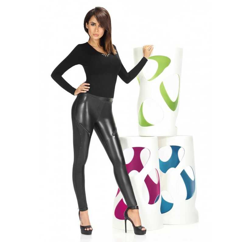 Zwarte lederlook legging met zakken en ritsen