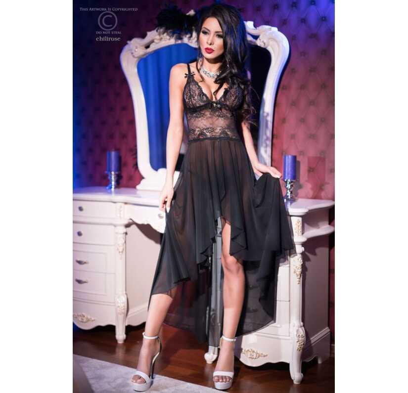 Gedrapeerd kleed met zwarte kant