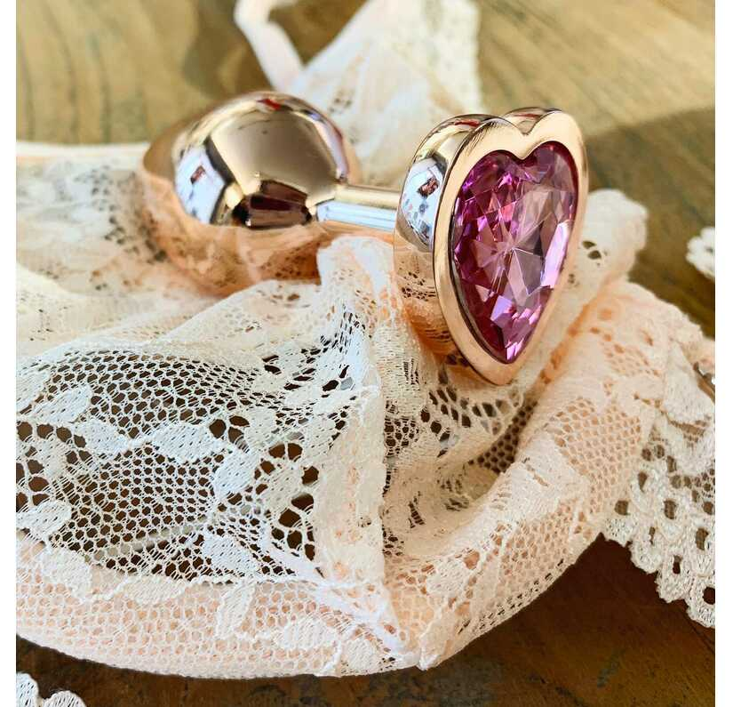 Roze goud plug met edelsteen