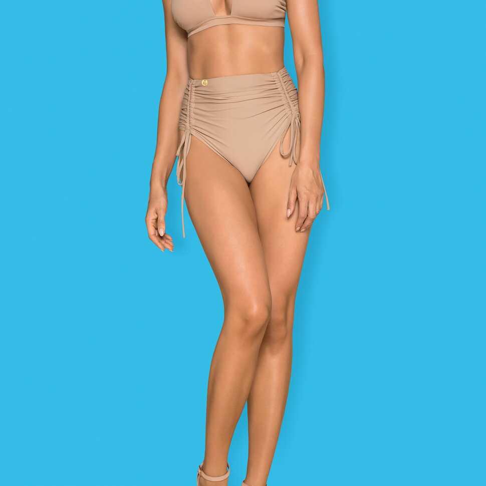 Beige bikini met hoge taille