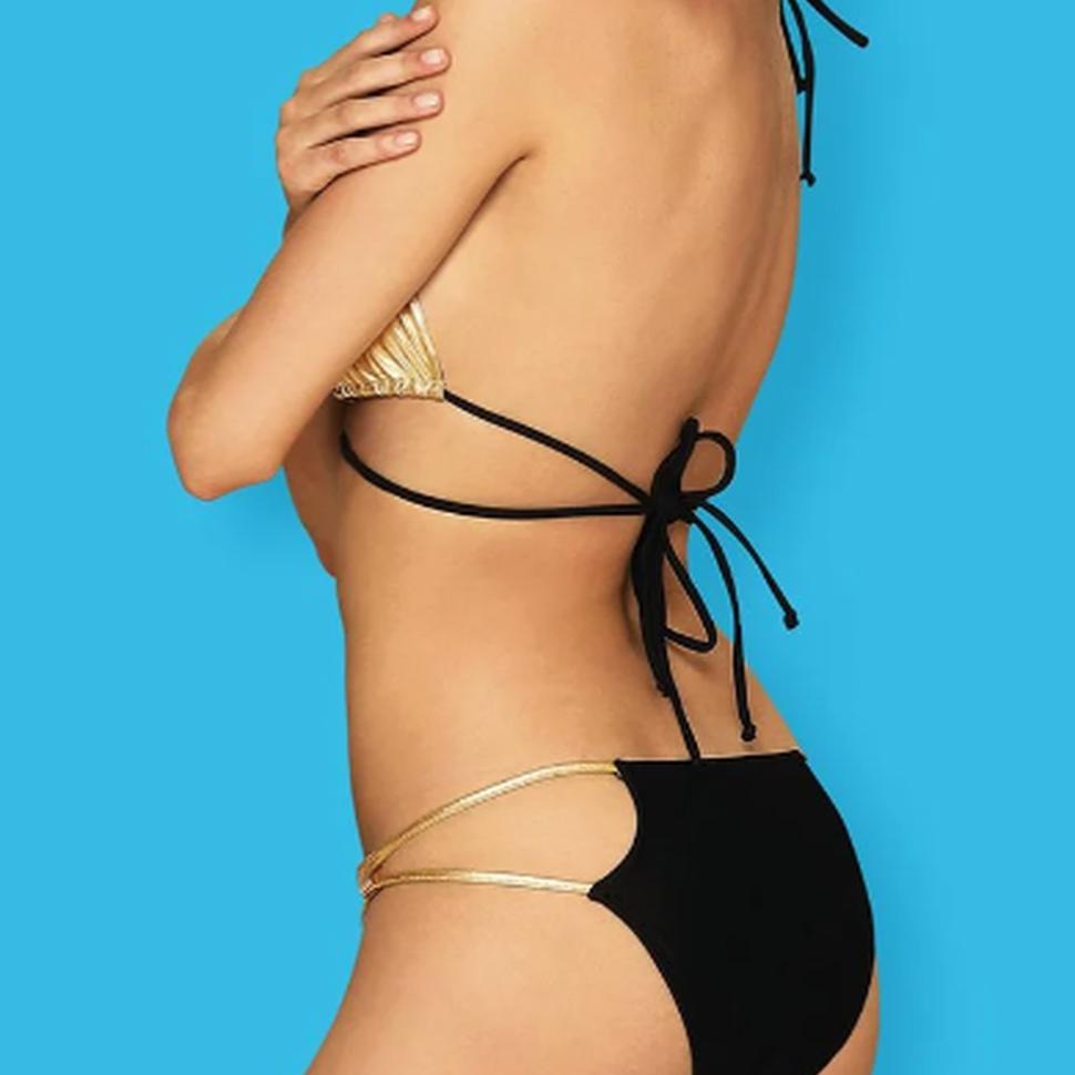 Bikini zwart/goud met haltersluiting
